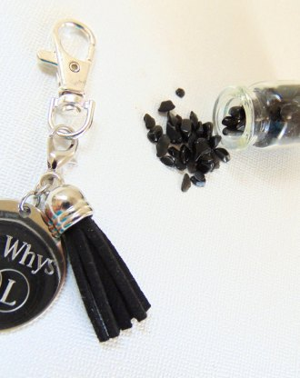 Personalized keychain, engraved Black & silver key chain, Custom message/Mini mantra keychain, inspirational quote disc tassel key holder