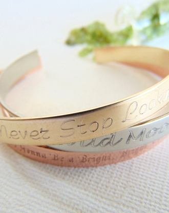 Stainless steel stacking bracelet Mixed metal cuffs, hand stamped quote Bracelet, layered cuffs, mixed metal jewelry, Yoga Gift