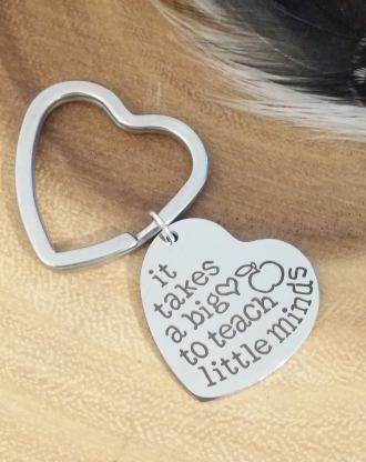 Teacher appreciation gift, Engraved heart key chain, silver heart key chain, message, teacher mentor or coach gift under 15 Ready to ship