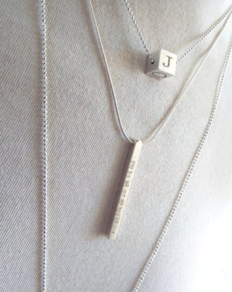Vertical bar necklace, personalized bar pendant silver skinny nameplate, Customized Necklace, Birthday Gift, Layered necklace by mywhys