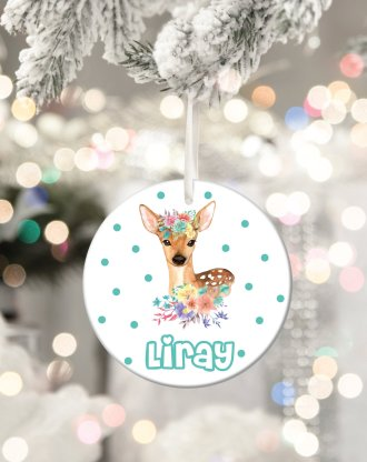 Baby first christmas ornament, personalized christmas deer ornament, custom baby name, personalized tree ornament, holiday keepsake gift