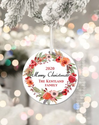 Christmas wreath ornament, personalized christmas family ornament, custom family name, personalized tree ornament, holiday keepsake gift