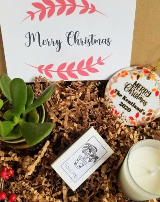 Personalized Christmas gift set with tree ornament, custom gift box, holiday gift basket, live succulent, soy candle, send a gift bundle.