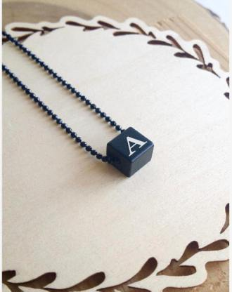 4 sides initials necklace, Cube Necklace, personalized initial pendant, Black necklace letter charm, Custom name jewelry, gift for him