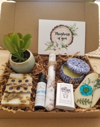 Thinking of you gift box, care package, cheer up basket, spa gift, surgery gift, send an encouragement gift box, natual pamper gift for her.