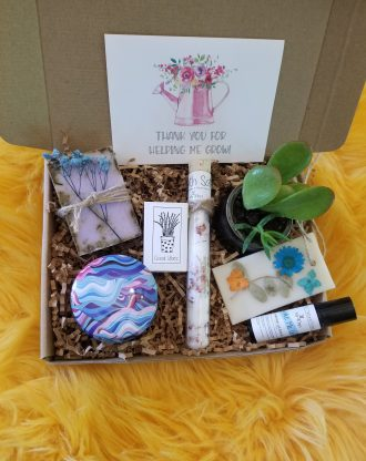 Teacher appreciation gift box, send a care package, live succulent, relaxation spa set, natural products, Thanks for helping me grow.