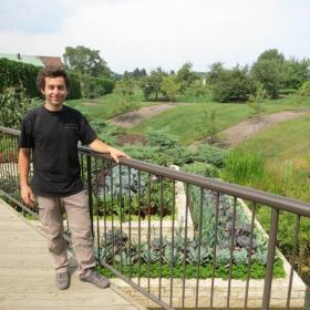 PHOTO: Maxime Soens with the Fruit & Vegetable Garden terraces.