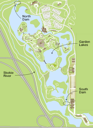 Map of the lakes and dams in the Chicago Botanic Garden.