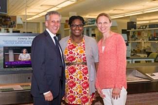PHOTO: Masters program graduate Alicia Foxx with Northwestern University Provost Daniel Linzer, and Chicago Botanic Garden President and CEO Sophia Shaw.