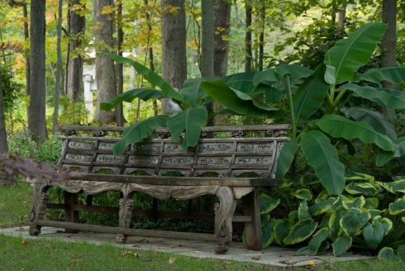 PHOTO: Asian garden bench.