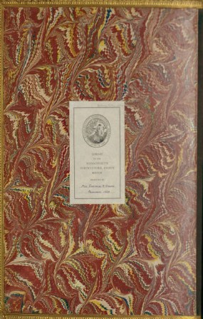 Inside front cover, marbling, and bookplate for Ellen Robbins' Autumnal Leaves, published in 1868.