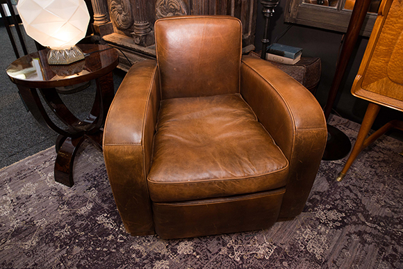 Booth #120, The Golden Triangle: Art deco-style French leather club chairs made of lamb leather.