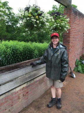 PHOTO: Visiting horticulturist Duana Pearson visits and lends a hand in the Fruit and Vegetable Garden.