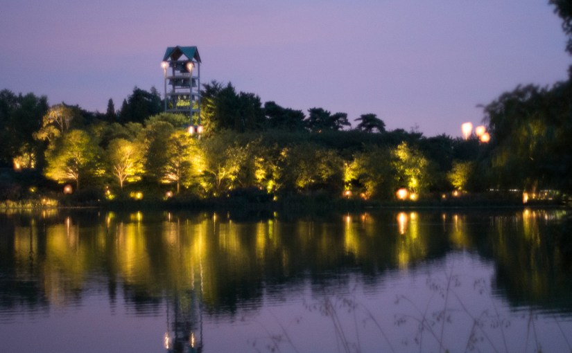 PHOTO: Evening view of the carillon.