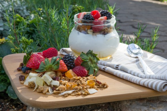 PHOTO: Yogurt with honey and fresh granola and berries.
