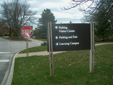 PHOTO: This sign tells visitors which way to drive to get to parking lots, visitor center, or learning campus.