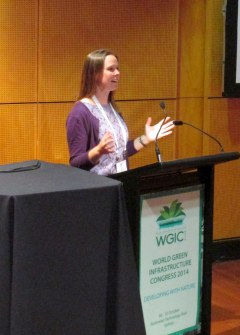 PHOTO: Kelly Ksiazek speaking in Sydney, Australia.