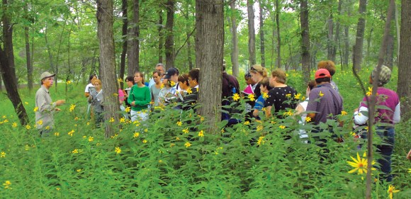 PHOTO: A Garden ecologist leads a class into the woods to learn about this ecosystem.