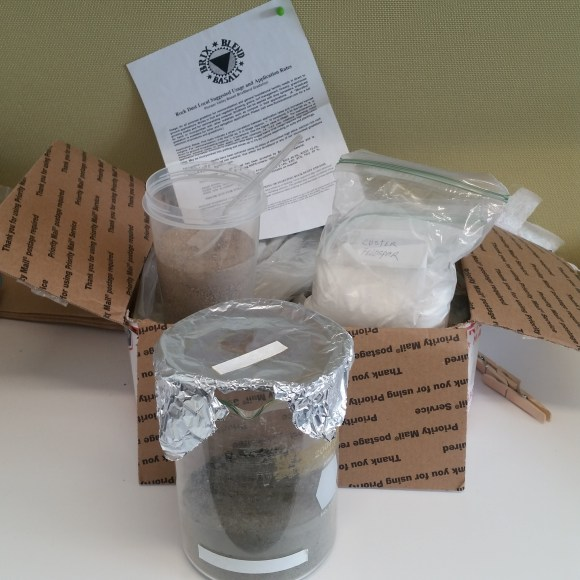 a box of basalt, a cup of sand, a bag of feldspar, and a glass beaker containing the Martian soil mixture