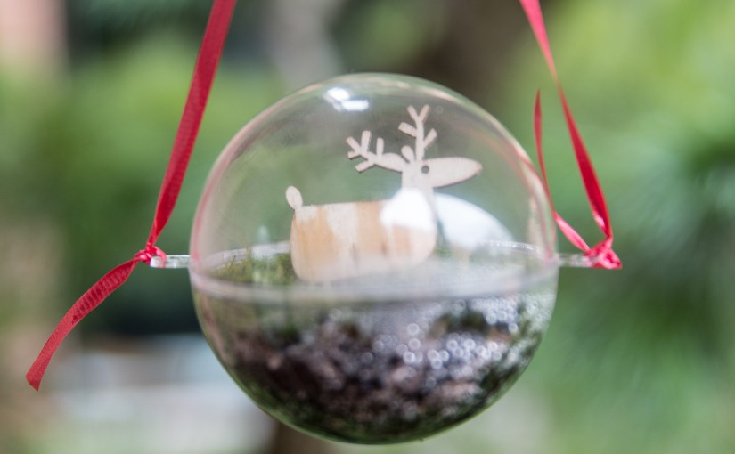 PHOTO: Moss terrarium ornament with deer.