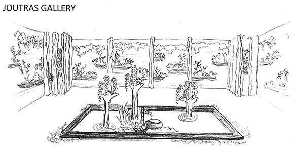 Sketch of the Joutras Gallery bamboo walls and dry garden concept