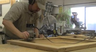 PHOTO: Andy Swets routing a wood frame for a compost bin.