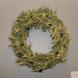PHOTO: Wreath made of real olive leaves and faux olives.