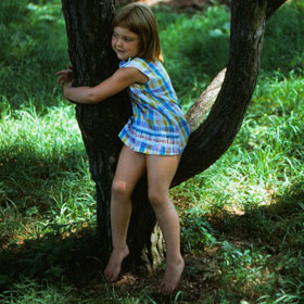 Jennifer at the Morton Arboretum in Lisle, age 4