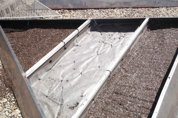 Filling the panels with custon blended planting media