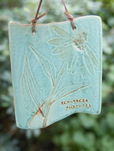 PHOTO: Prairie plant wall tile from Janet Austin's workshop at the Garden.