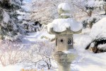 A snow-covered lantern at the Malott Japanese Garden