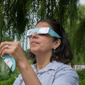 Practice safe viewing at the Garden with eclipse glasses from the Adler Planetarium.