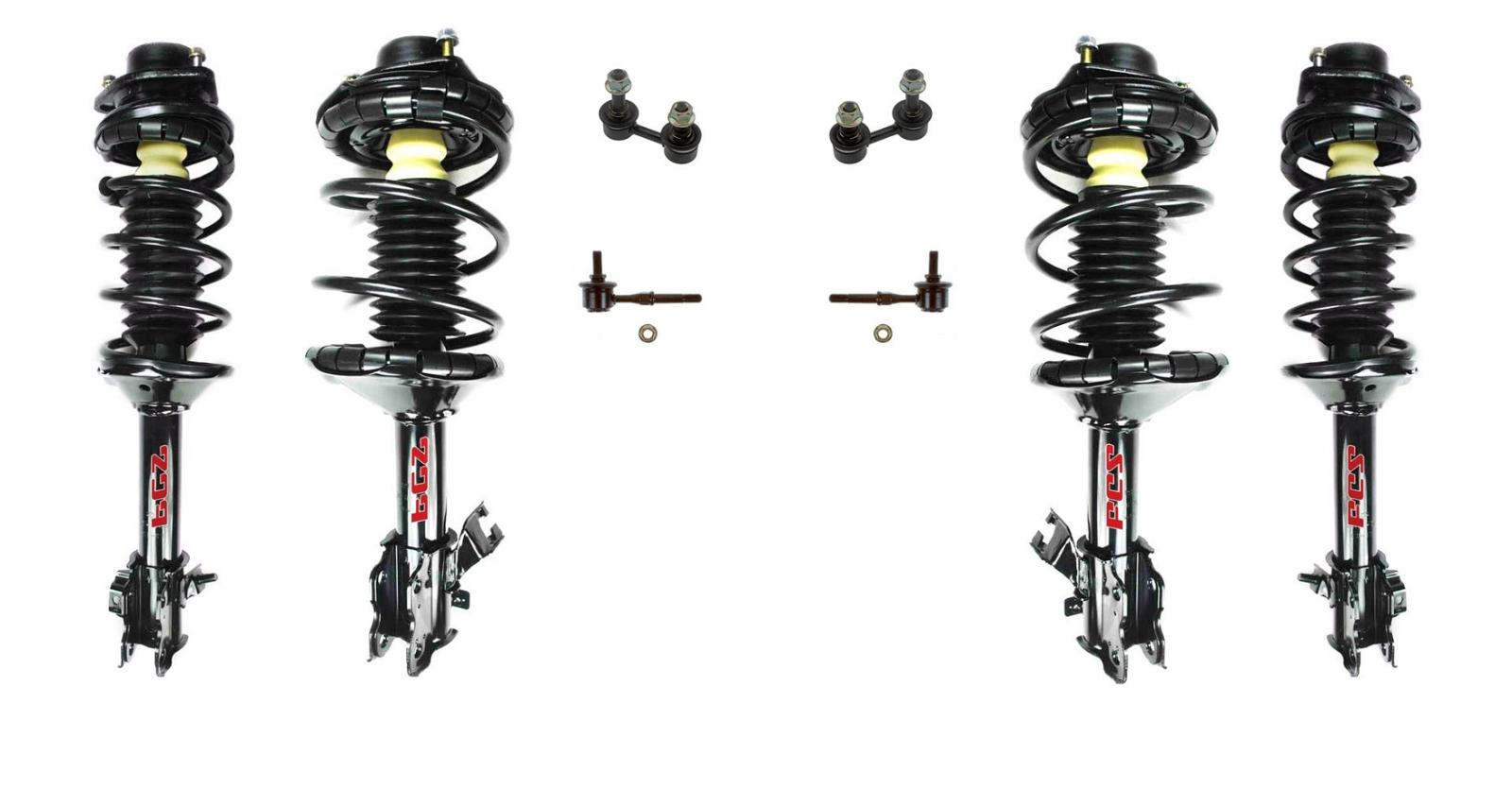 Front And Rear Complete Struts With Sway Bar Links For