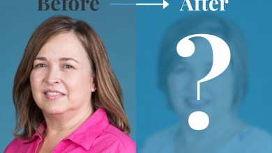 """Before & After of women with a question mark covering her """"after"""""""