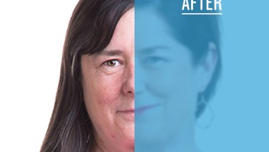 Split image of close-up of woman before & after