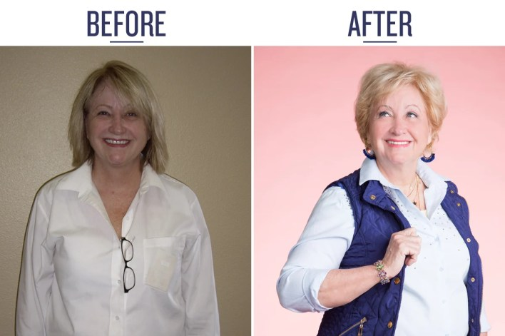 side by side, before & after picture of marcy, a woman over 50