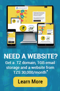 Need a website? Get a .TZ domain, 1GB email storage and a website from TZS 30,000*/month