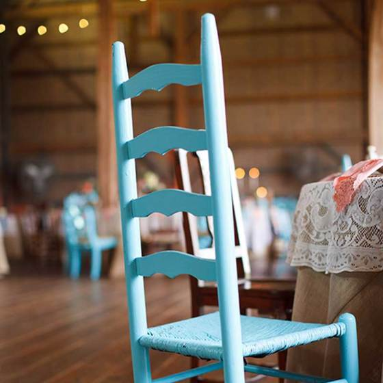 Vintage mismatched aqua dining chairs