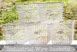 antique industrial wirebaskets