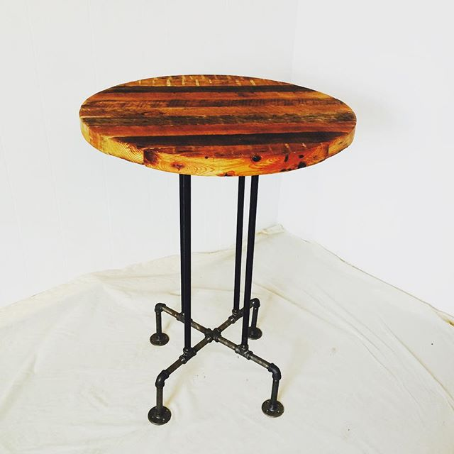 One of the stunning pub height tables we made with @wardmanwares from reclaimed DC wood.  One-of-a-kind joist top with steel industrial legs. For sale from @wardmanwares for $425 and for rent from us!  #acreativedc #dc #local #industrial #reclaimed #vintagerentals #vintage #interiordesign #salvaged #handmade