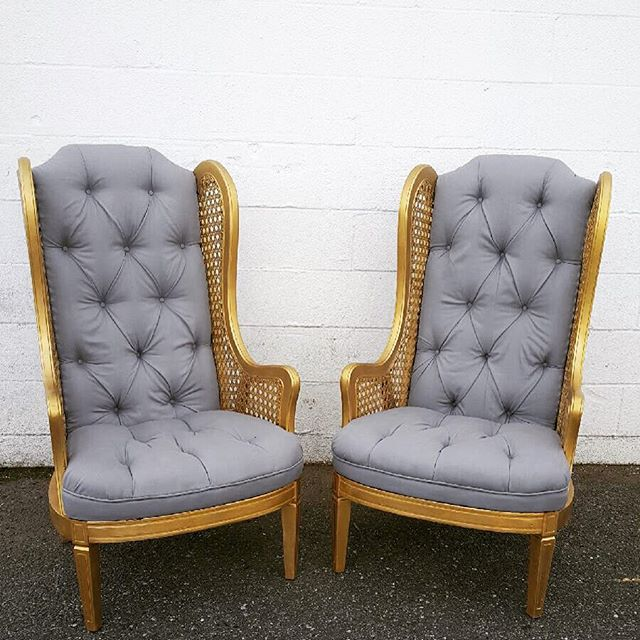 Oh so lovely gray and gold ladies we reupholstered for our inventory! #vintagerentals #acreativedc #eventstyling #vintage #gold #dcwedding #dc #create #upholstery