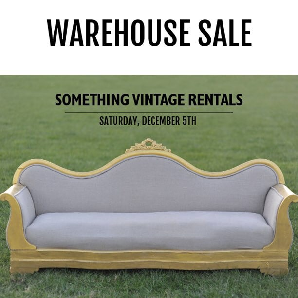 Come visit us at our warehouse sale on Dec 5!  We are selling some of our scratch and dent upholstered pieces, many dining chairs (that need some TLC), lots of silver-rimmed china, lace linens, a handful of our farm tables and more!  Sale is from 9AM-1PM.  And yes we are selling this couch! Address: 4826 Stamp Road, Temple Hills, MD.  #vintagerentals #vintagechina #dcevents #thrift #diy #upcycle