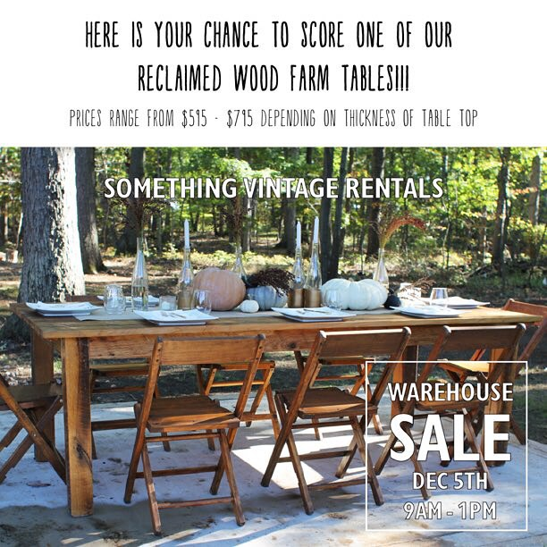 "Who wants to buy one of our classic reclaimed barn wood farm tables?! Each is made by hand by Amish artisans and made from century-old barn wood. We're selling a handful of ours that we've used this year, hence the discounted price. These babies are beautiful, get 'em while you can! 96""x42"". #reclaimed #vintagerentals #shoplocal #dc #salvaged #build #acreativedc #vintage #barn #barnwood #rustic"