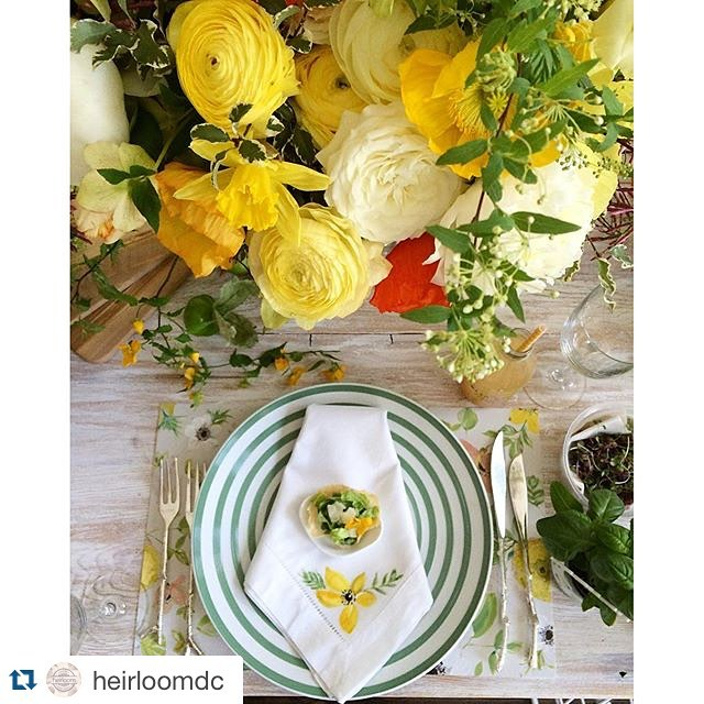 All together obsessed with this #tablescape for #springsocialdc designed by @laurynprattes at @fathomgallery on our reclaimed wood whitewashed farm table. Cheers to the other awesome collaborators for this event @heirloomdc @sweetrootvillage @jrinkjuicery @abbyjiu @lhcalligraphy @healthfullyeverafter @bttrcrmbakeshop @corepoweryoga @melissasproduce ..........#springsocialdc #tablescape #acreativedc #DC #igdc #weddinginspo #vintage #vintagerentals #catering #yellow #style #eventstyling #spring