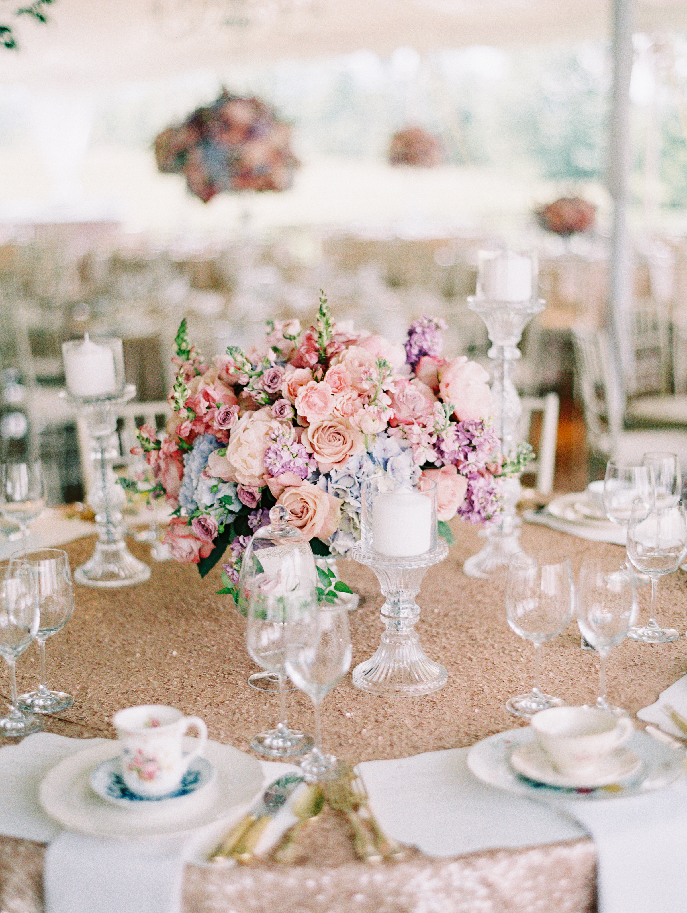 Blush vintage mismatched china wedding virginia