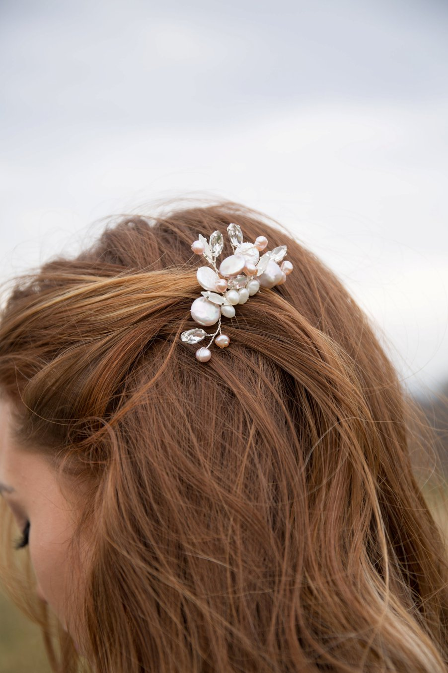 Pearl and crystal hair clip