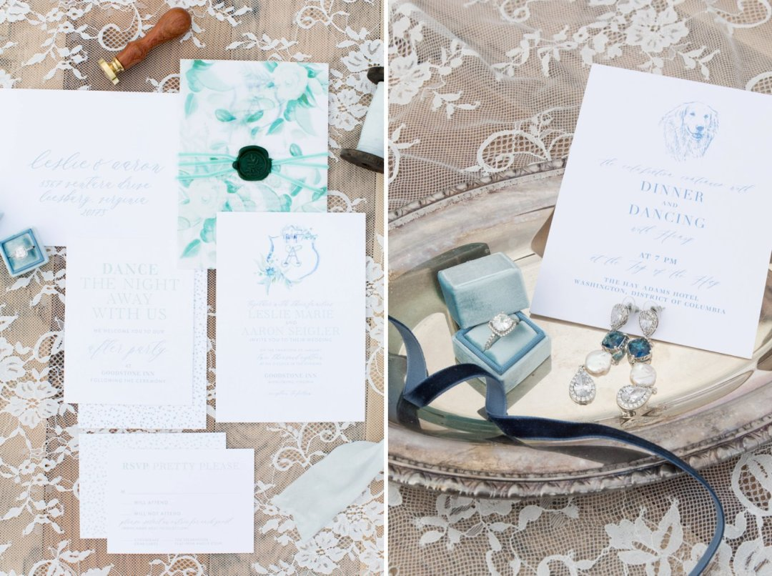 Wedding invitations on lace