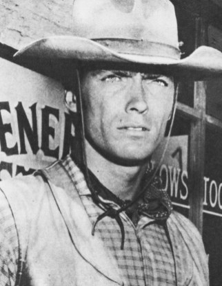 """CLINT EASTWOOD plays Rowdy Yates - Gil Favor's impetuous young ramrod - in """"Rawhide"""""""