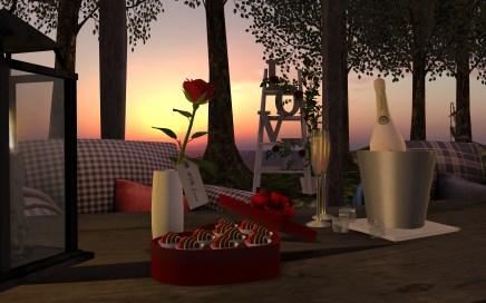 Valentine Treats, 3 prims, roze en rood. Love Roses Ladder, 4 prims met of zonder pot.