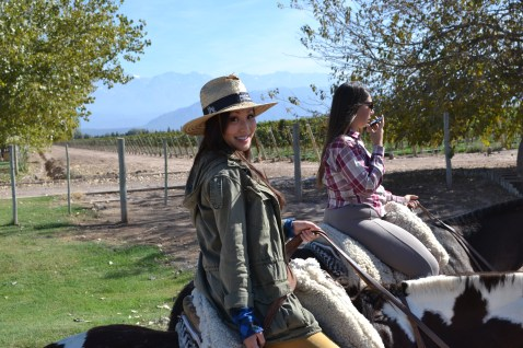 Riding on horseback through Mendoza Argentina